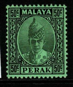MALAYA PERAK SG118 1938 50c BLACK ON EMERALD MTD MINT
