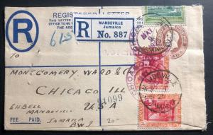 1925 Mandeville Jamaica Registered Letter Cover To Chicago IL USA
