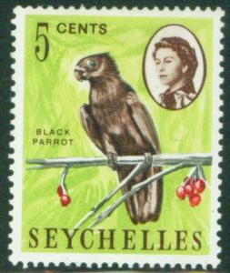 Seychelles Scott 198 MH* 1962 Black Parrot Bird stamp