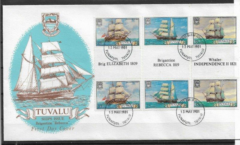 TUVALU 1981 FINE Cachet FDC Sailing Ships, Ships,VF-XF !! (RN-50) #2