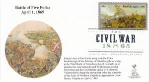 Civil War/Five Forks First Day Cover, w/ DCP cancel, #2 of 2