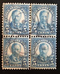 637 1922 Americans Series, 11x10.5 perf., Circ. block, Vic's Stamp Stash