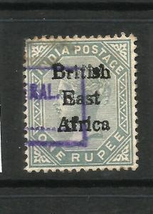 BRITISH EAST AFRICA  1895-96  1r  QV FU ERROR 1 FOR I IN BRITISH SG 59a