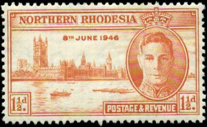 Northern Rhodesia Scott #46a SG #46a Mint Hinged   Perf 13 1/2  Peace Issue