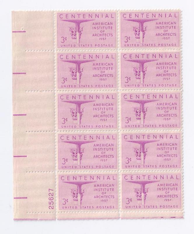 US SC# 1089 Plate Block of 10 3c Architects MNH LL 25627