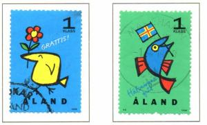 Aland Sc  120-1 1996 Greetings stamp set used