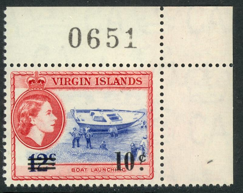 BRITISH VIRGIN ISLANDS 1962 10c on 12c BOAT Surcharged SHEET No.Single Sc 134 NH
