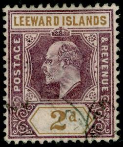 LEEWARD ISLANDS SG22, 2d dull purple & ochre, FINE used. WMK CA.