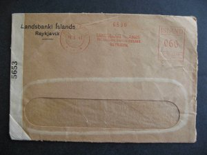 Iceland WWII censored cover 1943 Reyjavik metered, cover opened on 3 sides