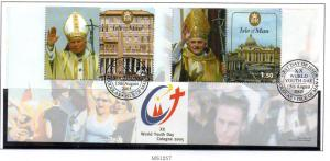 Isle of Man  Sc 1120 2005 Youth Pope  stamp sheet used