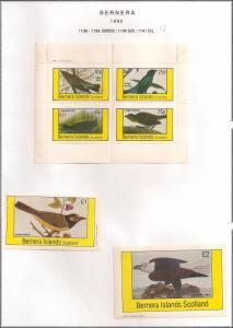 SCOTLAND - BERNERA - 1982 - Birds (13) - 4v Perf, Min, D/L Sheets - MLH