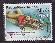 Papua New Guinea-Sc#573- id6-used 45t-Shooting-Sports-Commonwealth games-1982-
