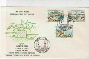Turkish Federated Cyprus 1976 Tourist Issue Cancels FDC Stamps Cover Ref 23572