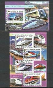 ST188 2015 GUINEA TRANSPORT TRAINS HIGH SPEED TRAINS GRANDE VITESSE KB+BL MNH