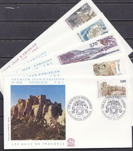 France, Scott cat. 2030-2034. Tourist issue on 5 First day covers. ^