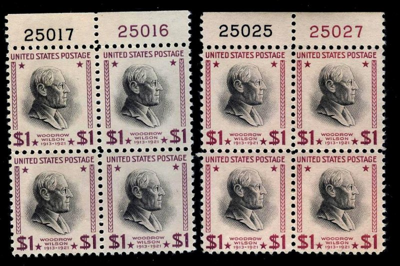 PLATE BLOCKs - #832c-832g $1 PREXYs.....VF+ og NH -- cv$430+  -- FREE SHIPPING
