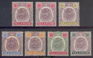 1895 Malaya Selangor 3c - 50c, SG 54-59 MH 5c has crease, 2 shades of 3c