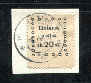 x362 - LITHUANIA 1910s REVENUE Stamp - Kaunas Cancel - 20 sk on piece