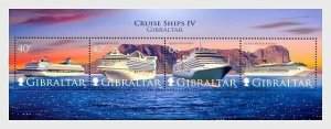 2008    GIBRALTAR  -  SG.  MS1290  -  CRUISE LINERS  - UNMOUNTED MINT MINI SHEET
