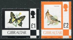 GIBRALTAR - # 354 - 355 Never Hinged Issues HIGH VALUES - BIRD BUTTERFLY - S5595
