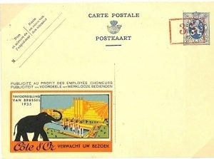 BELGIUM Unused Postal Stationery Card 50c Exhibition *COTE D'OR* Advert 1935 L26
