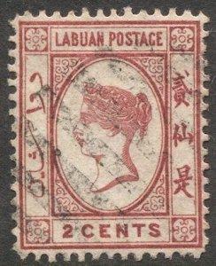 LABUAN 1885 Sc 17  2c QV Used  VF, Wmk 2, cv $20