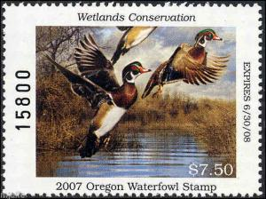 OREGON #24 2007 STATE DUCK STAMP WOOD DUCKS  by Robert Steiner