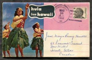 p526 - HAWAII Honolulu 1968 Cancel on HULA Dancers Folder to CANADA