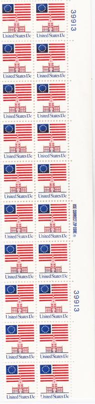 U.S. 13 cent Flag Plate Block of 20  VF/NH