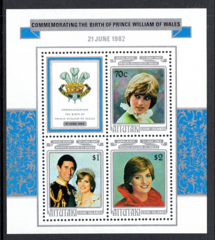 Aitutaki 270a Birth Prince William Souvenir Sheet MNH VF