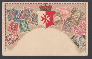 Zieher #35 unused PPC. Stamps and Coat of Arms of Malta, embossed, F-VF.