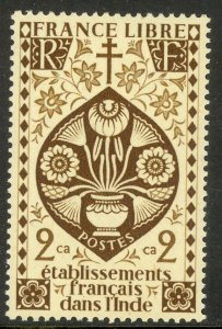 FRENCH INDIA 1942 2ca LOTUS FLOWER Issue Scott No. 143 MH