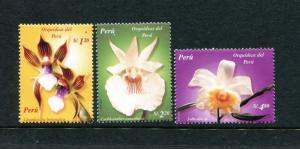 Peru 1376-1378, MNH, Orchids 2004. x29681