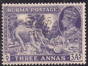 Burma 1947 KGV1 3 annas Blue Violet Umm SG 75 ( H551 ) )