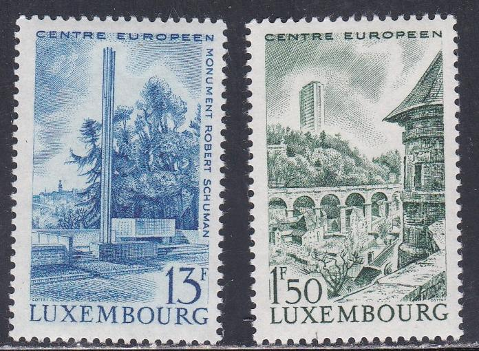 Luxembourg # 445-446, Monument to Robert Schuman, NH, 1/2 Cat.