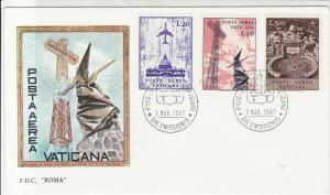 Vatican 1967 Cross & Winged Statue Pic Roma Post Airmail Stamps FDC CoverRf29510