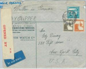 74978 - PALESTINE - POSTAL HISTORY: Censored COVER to the USA  1941 - By Clipper