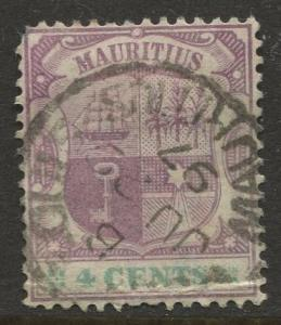 STAMP STATION PERTH Mauritius #97 Coat of Arms Used Wmk 2 1895 CV$0.60