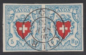 SWITZERLAND  An old forgery of a classic stamp - pair.......................B210