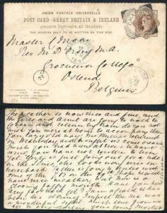 CP18c 1d + 1d Brown Foreign Reply Card Format CF6 Stamp L4 Used Chatham Cancel