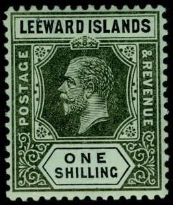 LEEWARD ISLANDS SG54b, VLH MINT. Cat £16. WMK MULT CA. ON BLUE-GREEN, OLIVE BACK