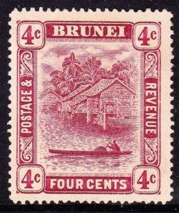 BRUNEI 1912 4c Claret Die II SG39 MH