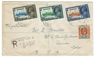 Seychelles 1935 Victoria cancel on registered cover to the U.S., Silver Jubilee