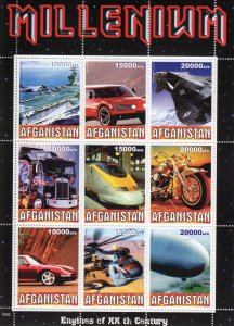 Afghanistan 1999 Motorcycles-Helicopters-Trains-Cars Sheetlet (9) MNH
