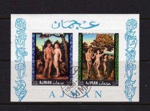 Ajman Nudes Adam and Eve Religious SS Souvenir Sheet Used