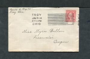 Postal History - Troy OH 1916 Black COL-K8-2 Cancel Cover B0651