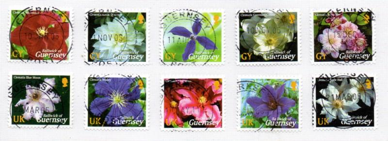 Guernsey Sc 817-26 2004 Climatis stamp set used