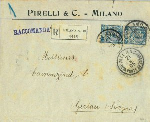 93182 - ITALY - POSTAL HISTORY - PERFIN stamp on COVER:   PIRELLI Tyres  1905