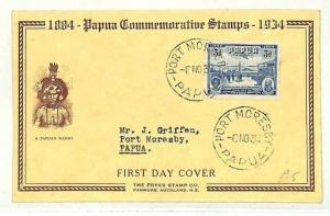 PAPUA *Dandy* ILLUSTRATED FDC 1934 Port Moresby CDS {samwells-covers}AB273