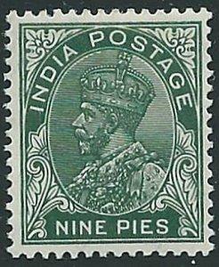 INDIA 1932-36 GV 9p deep green SG233b fine mint lightly hinged.............45873